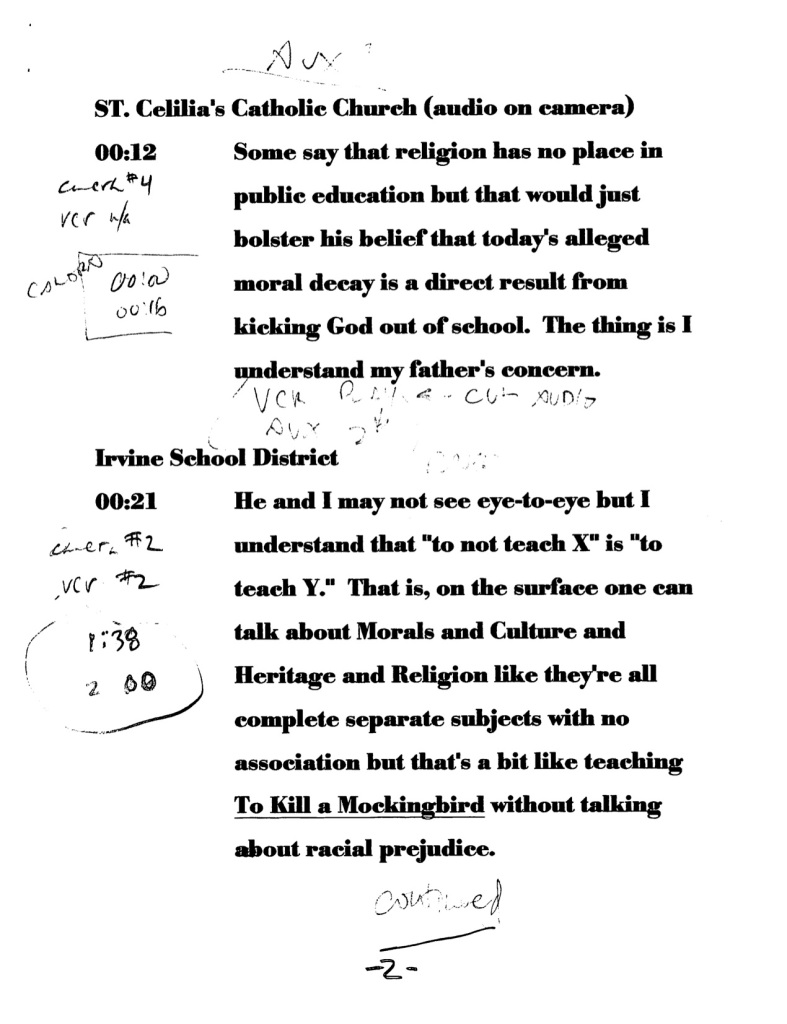 1993-12-15 ED533 Multicultural Classroom - Video Project Notes and Script2